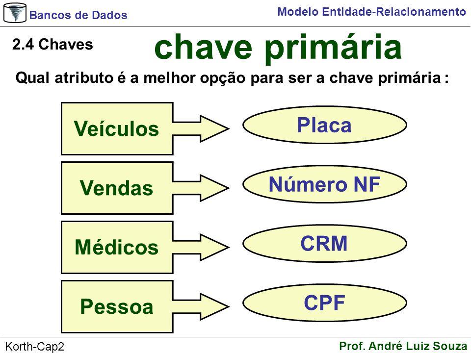 Bancos de Dados Prof. André Luiz Souza Korth-Cap2 Modelo Entidade-Relacionamento 2.4 Chaves chave primária Qual atributo é a melhor opção para ser a c