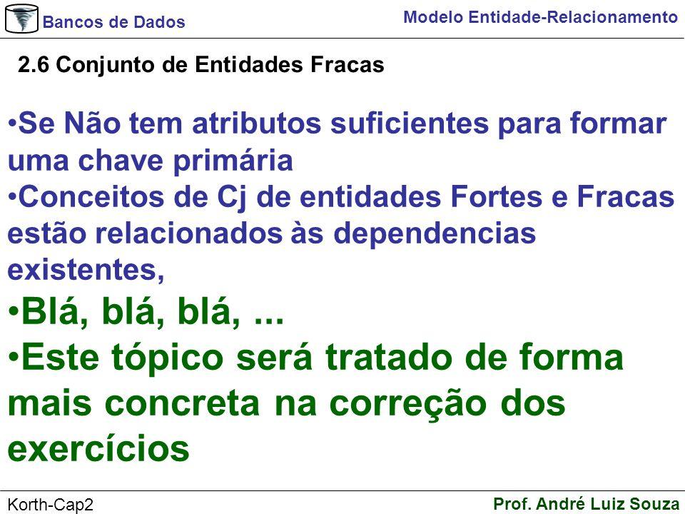 Bancos de Dados Prof. André Luiz Souza Korth-Cap2 Modelo Entidade-Relacionamento 2.6 Conjunto de Entidades Fracas Se Não tem atributos suficientes par