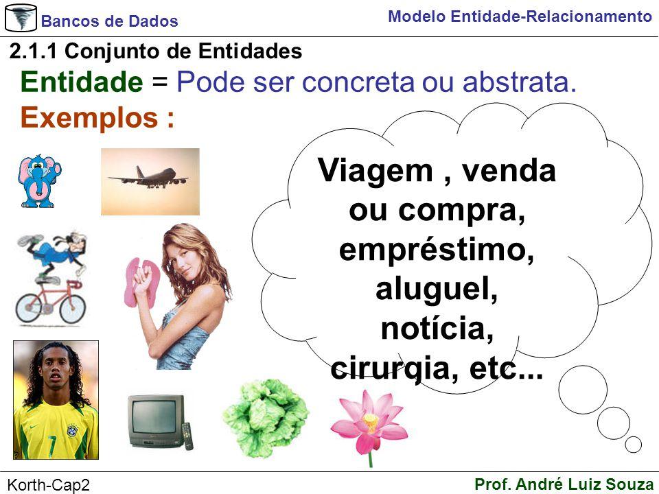 Bancos de Dados Prof. André Luiz Souza Korth-Cap2 Modelo Entidade-Relacionamento Entidade = Pode ser concreta ou abstrata. Exemplos : 2.1.1 Conjunto d