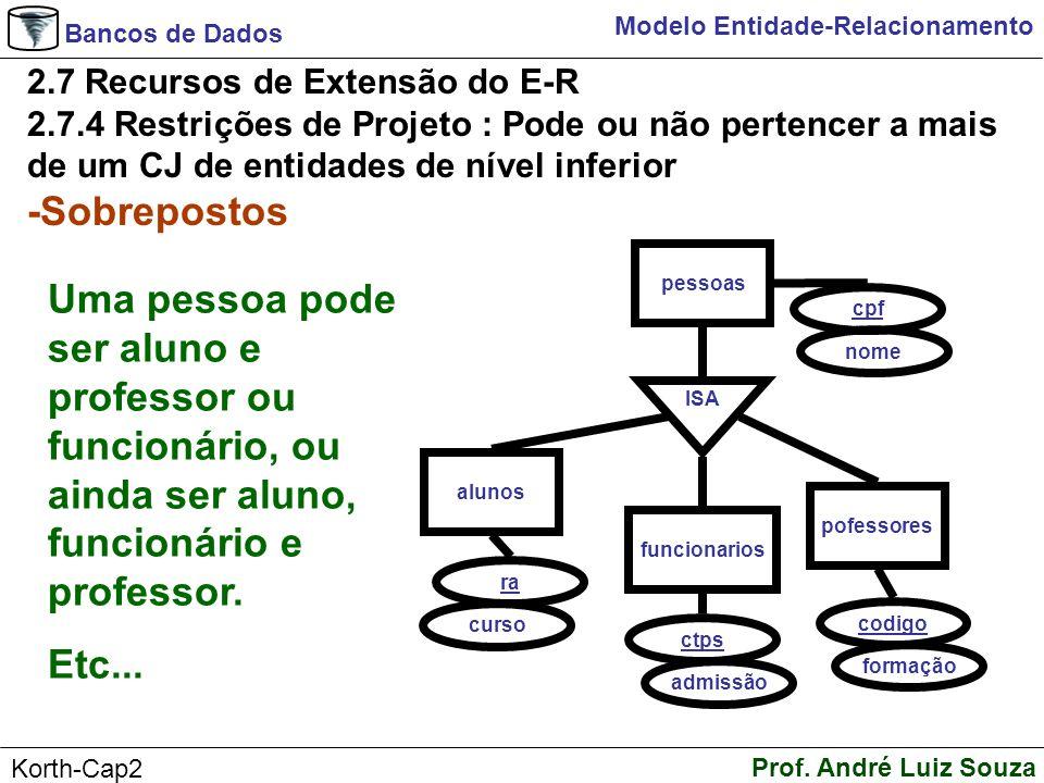 Bancos de Dados Prof. André Luiz Souza Korth-Cap2 Modelo Entidade-Relacionamento 2.7 Recursos de Extensão do E-R 2.7.4 Restrições de Projeto : Pode ou