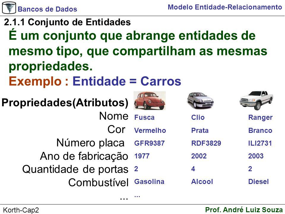 Bancos de Dados Prof. André Luiz Souza Korth-Cap2 Modelo Entidade-Relacionamento 2.1.1 Conjunto de Entidades É um conjunto que abrange entidades de me