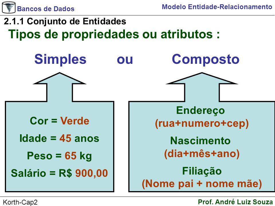 Bancos de Dados Prof. André Luiz Souza Korth-Cap2 Modelo Entidade-Relacionamento 2.1.1 Conjunto de Entidades Tipos de propriedades ou atributos : Simp