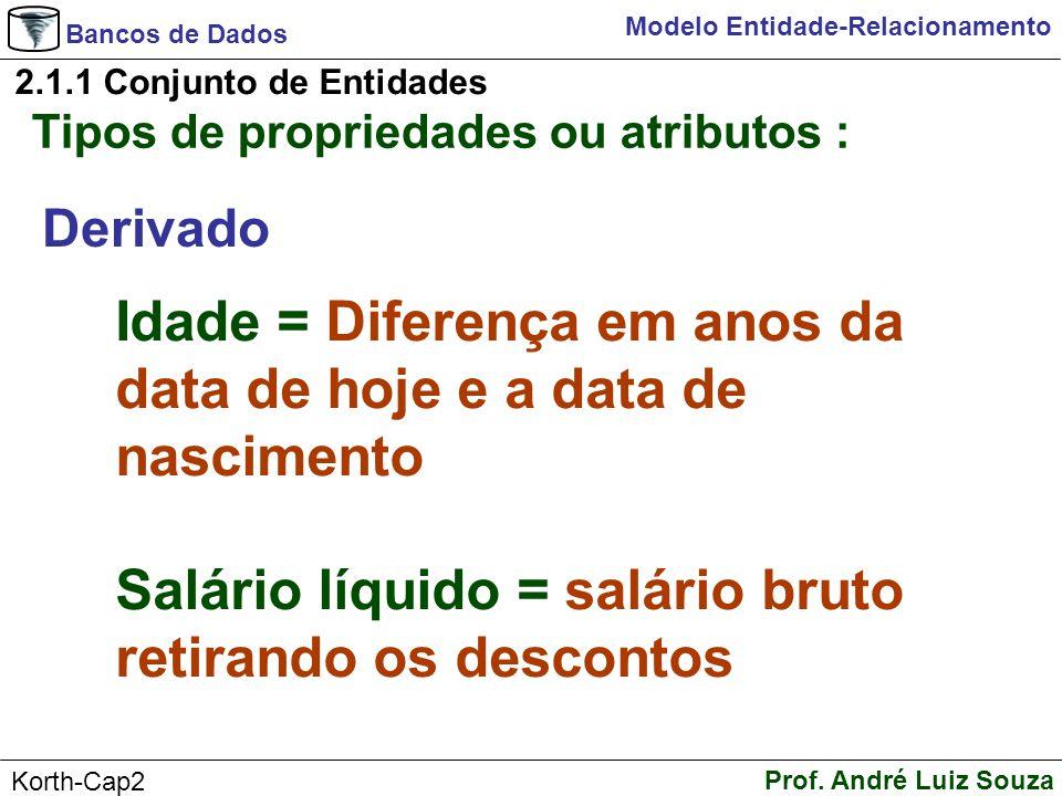 Bancos de Dados Prof. André Luiz Souza Korth-Cap2 Modelo Entidade-Relacionamento 2.1.1 Conjunto de Entidades Tipos de propriedades ou atributos : Deri