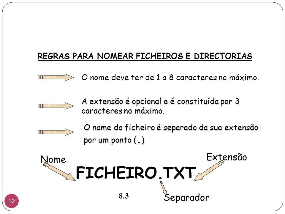 REGRAS PARA NOMEAR FICHEIROS E DIRECTORIAS O nome deve ter de 1 a 8 caracteres no máximo.