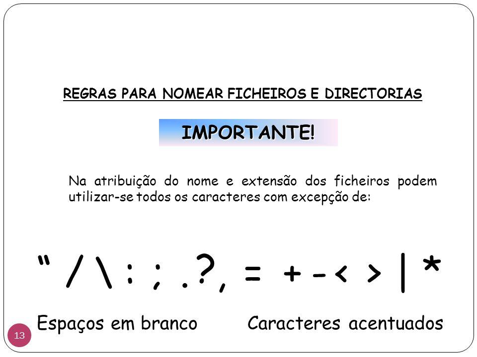REGRAS PARA NOMEAR FICHEIROS E DIRECTORIAS Na atribuição do nome e extensão dos ficheiros podem utilizar-se todos os caracteres com excepção de: IMPORTANTE.