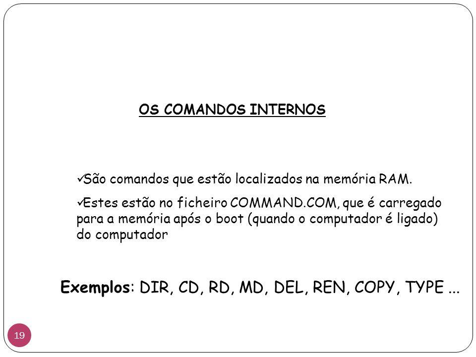 São comandos que estão localizados na memória RAM. Estes estão no ficheiro COMMAND.COM, que é carregado para a memória após o boot (quando o computado