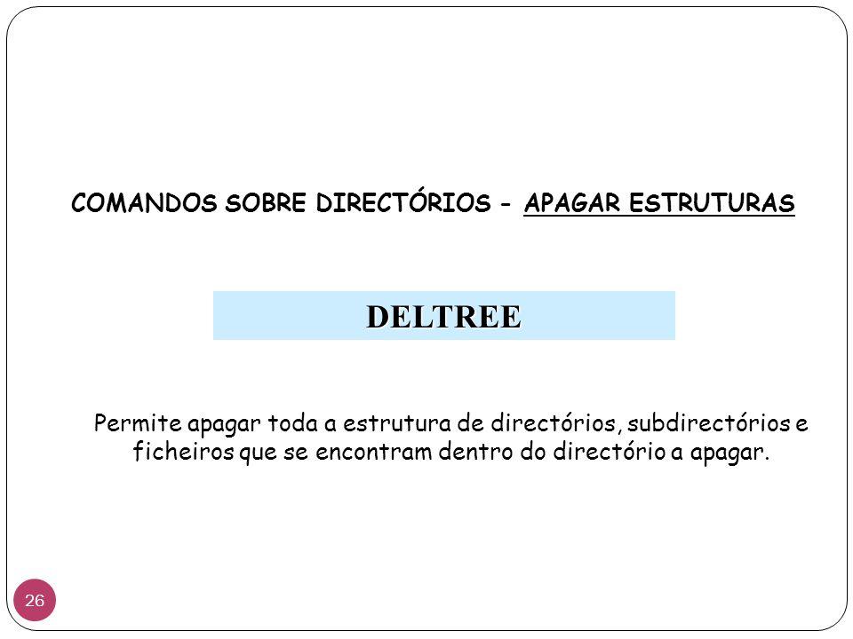 Permite apagar toda a estrutura de directórios, subdirectórios e ficheiros que se encontram dentro do directório a apagar.