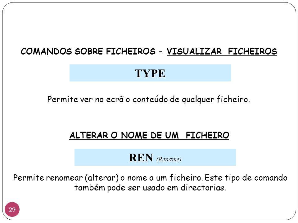 COMANDOS SOBRE FICHEIROS - VISUALIZAR FICHEIROS TYPE Permite ver no ecrã o conteúdo de qualquer ficheiro. ALTERAR O NOME DE UM FICHEIRO REN (Rename) P