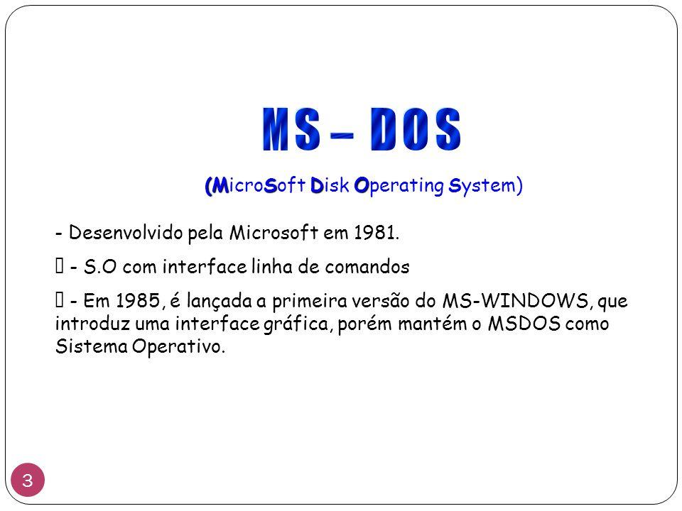 """(MS (MicroSoft D Disk O Operating System) - Desenvolvido pela Microsoft em 1981. """" - S.O com interface linha de comandos """" - Em 1985, é lançada a prim"""
