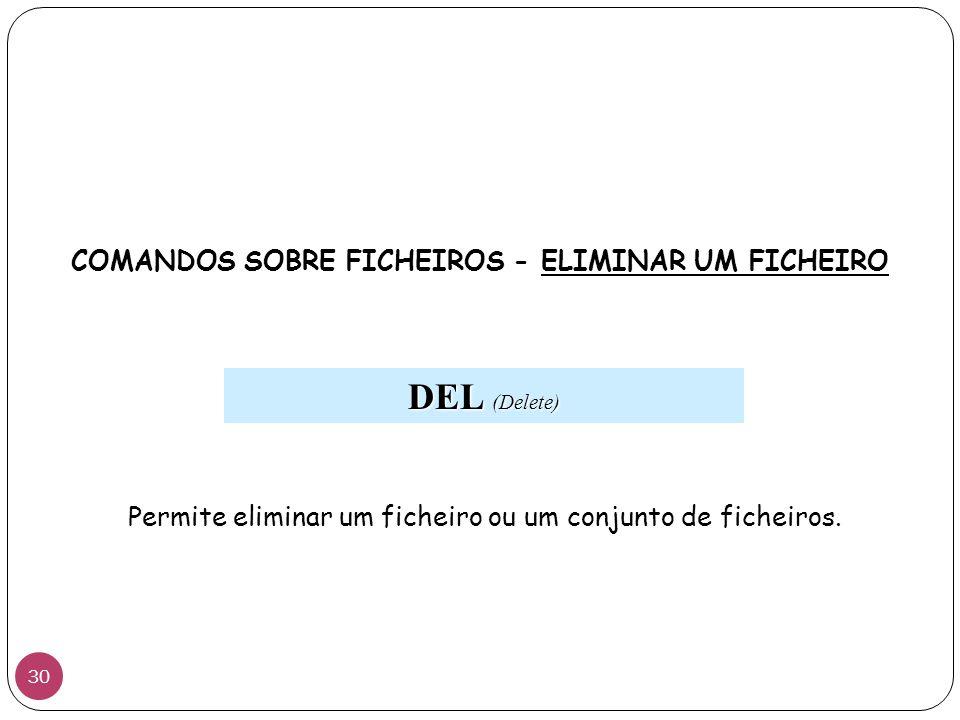 COMANDOS SOBRE FICHEIROS - ELIMINAR UM FICHEIRO DEL (Delete) Permite eliminar um ficheiro ou um conjunto de ficheiros. 30