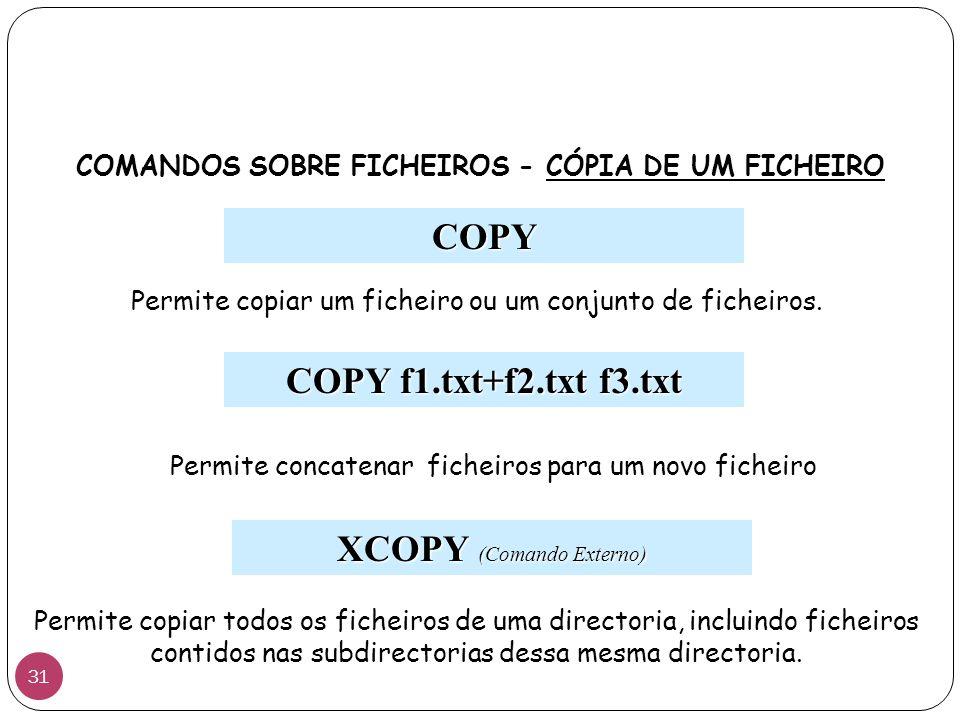 COMANDOS SOBRE FICHEIROS - CÓPIA DE UM FICHEIRO COPY Permite copiar um ficheiro ou um conjunto de ficheiros. COPY f1.txt+f2.txt f3.txt Permite concate