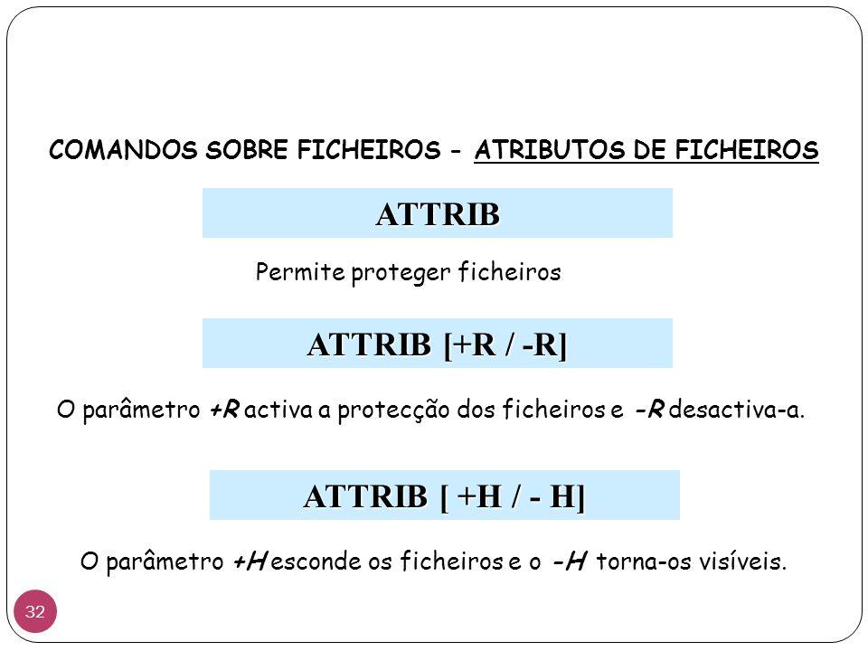 ATTRIB Permite proteger ficheiros ATTRIB [+R / -R] ATTRIB [ +H / - H] COMANDOS SOBRE FICHEIROS - ATRIBUTOS DE FICHEIROS O parâmetro +R activa a protecção dos ficheiros e -R desactiva-a.