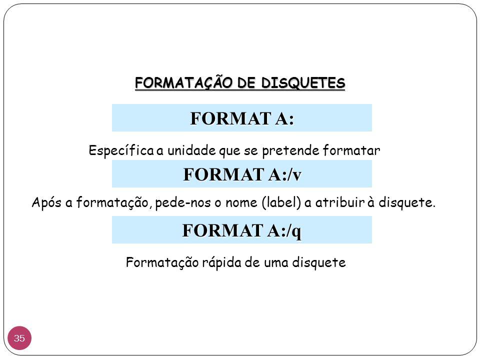FORMAT A: FORMATAÇÃO DE DISQUETES FORMAT A:/v FORMAT A:/q Específica a unidade que se pretende formatar Após a formatação, pede-nos o nome (label) a atribuir à disquete.