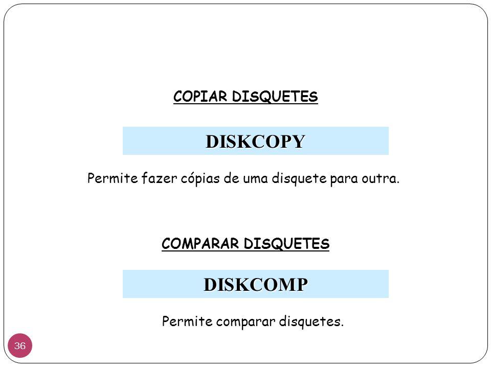 DISKCOPY COPIAR DISQUETES Permite fazer cópias de uma disquete para outra. COMPARAR DISQUETES Permite comparar disquetes. DISKCOMP 36