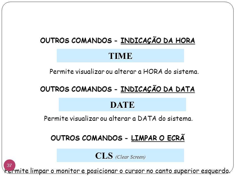 TIME Permite visualizar ou alterar a HORA do sistema.