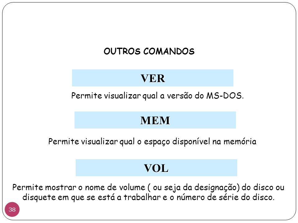 VER MEM OUTROS COMANDOS Permite visualizar qual a versão do MS-DOS. Permite visualizar qual o espaço disponível na memória VOL Permite mostrar o nome