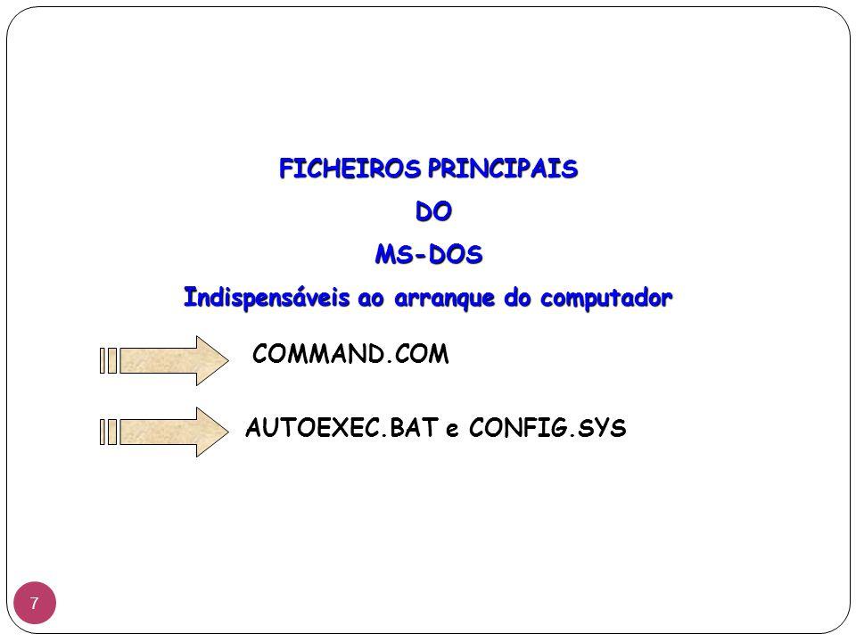 FICHEIROS PRINCIPAIS DO MS-DOS Indispensáveis ao arranque do computador COMMAND.COM AUTOEXEC.BAT e CONFIG.SYS 7