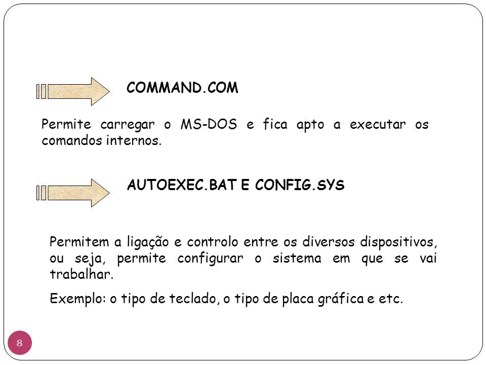 COMMAND.COM Permite carregar o MS-DOS e fica apto a executar os comandos internos. AUTOEXEC.BAT E CONFIG.SYS Permitem a ligação e controlo entre os di