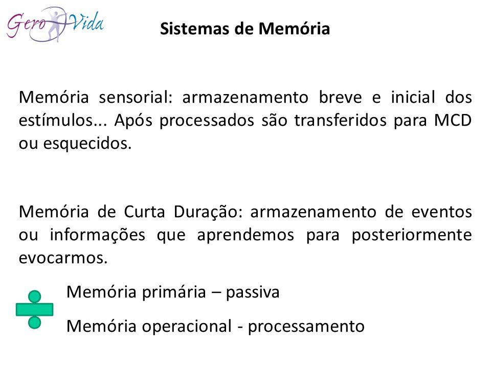 Sistemas de Memória Memória sensorial: armazenamento breve e inicial dos estímulos... Após processados são transferidos para MCD ou esquecidos. Memóri