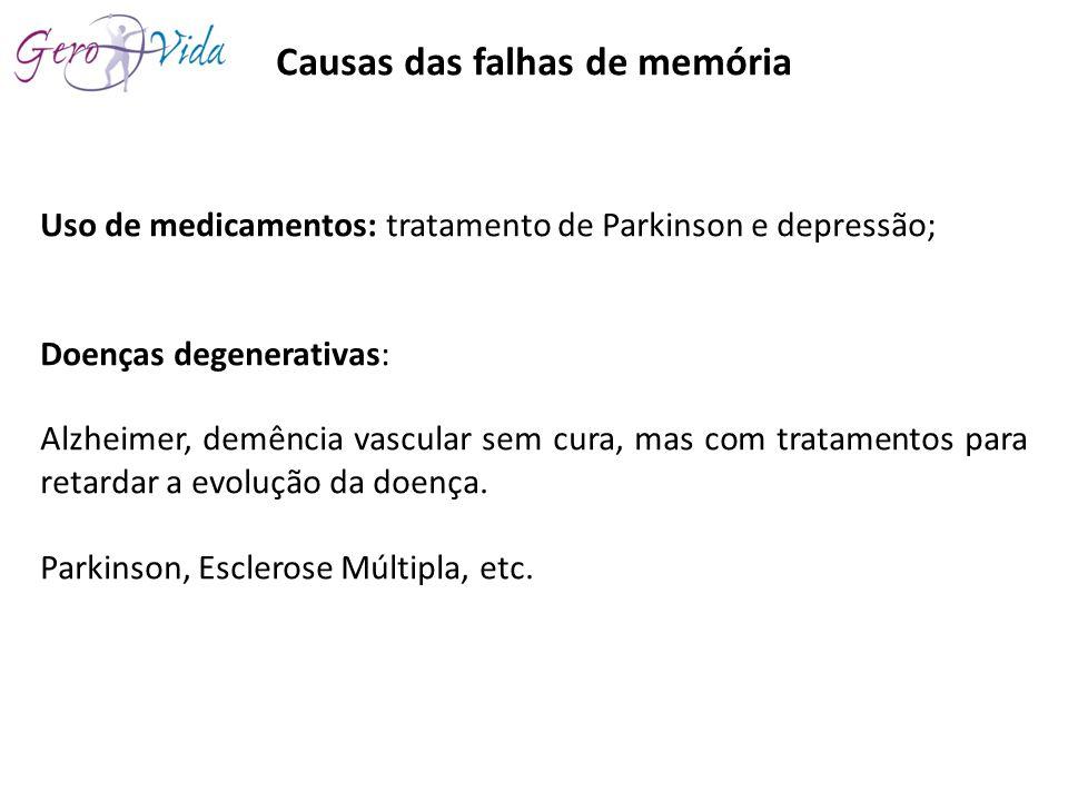 Causas das falhas de memória Uso de medicamentos: tratamento de Parkinson e depressão; Doenças degenerativas: Alzheimer, demência vascular sem cura, m