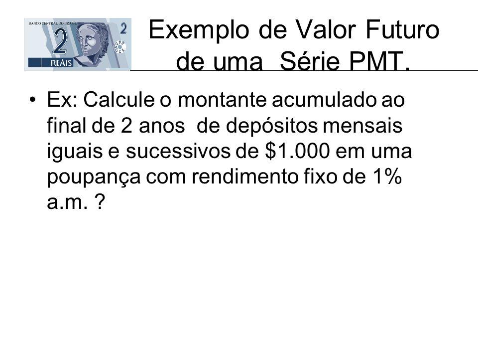 Exemplo de Valor Futuro de uma Série PMT. Ex: Calcule o montante acumulado ao final de 2 anos de depósitos mensais iguais e sucessivos de $1.000 em um