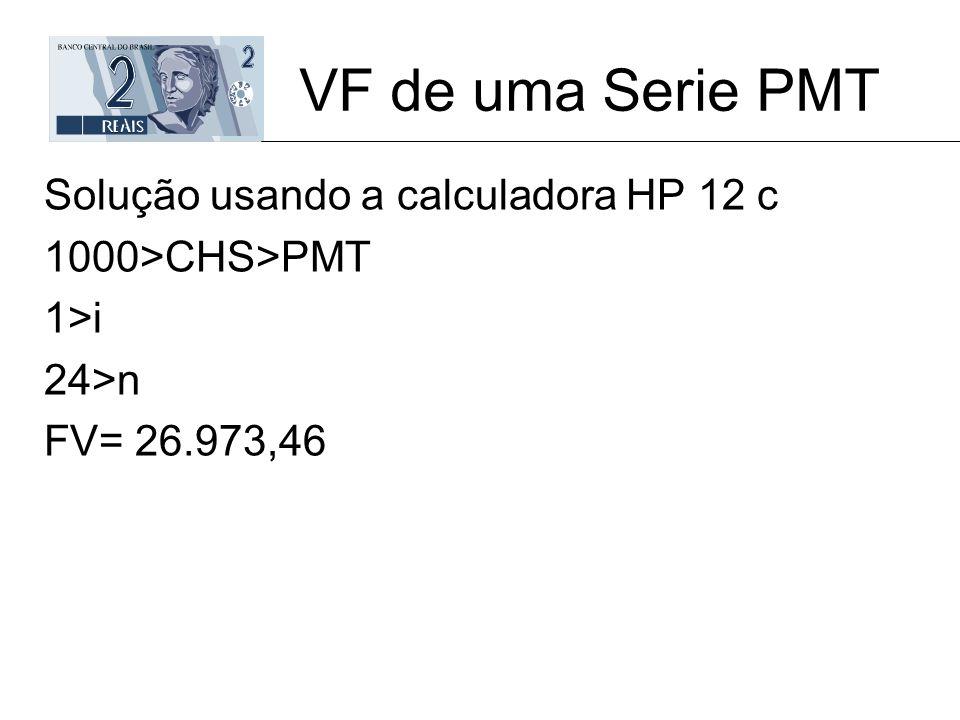VF de uma Serie PMT Solução usando a calculadora HP 12 c 1000>CHS>PMT 1>i 24>n FV= 26.973,46
