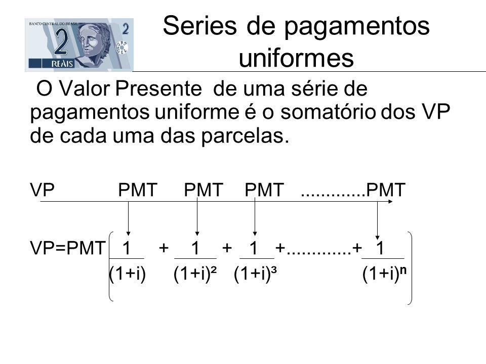 Series de pagamentos uniformes O Valor Presente de uma série de pagamentos uniforme é o somatório dos VP de cada uma das parcelas. VP PMT PMT PMT.....