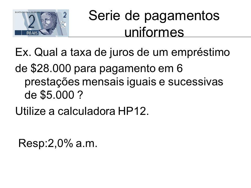 Serie de pagamentos uniformes Ex. Qual a taxa de juros de um empréstimo de $28.000 para pagamento em 6 prestações mensais iguais e sucessivas de $5.00
