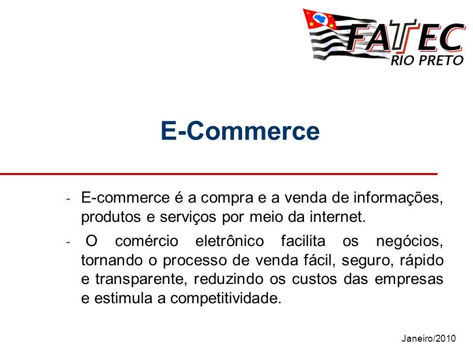 Janeiro/2010 E-Commerce - E-commerce é a compra e a venda de informações, produtos e serviços por meio da internet. - O comércio eletrônico facilita o