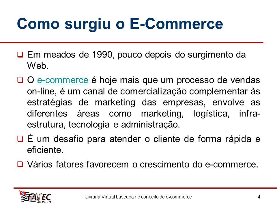 Como surgiu o E-Commerce Em meados de 1990, pouco depois do surgimento da Web. O e-commerce é hoje mais que um processo de vendas on-line, é um canal