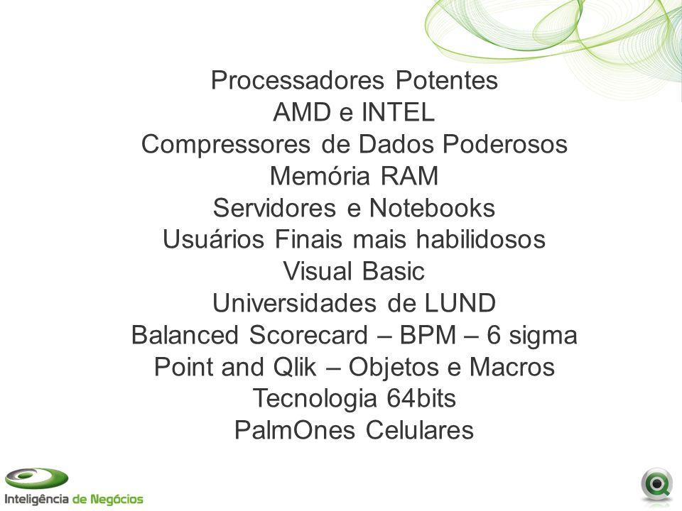 Processadores Potentes AMD e INTEL Compressores de Dados Poderosos Memória RAM Servidores e Notebooks Usuários Finais mais habilidosos Visual Basic Universidades de LUND Balanced Scorecard – BPM – 6 sigma Point and Qlik – Objetos e Macros Tecnologia 64bits PalmOnes Celulares