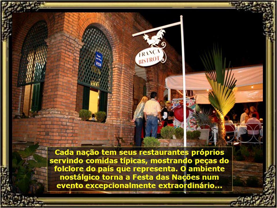 A Festa das Nações é uma das mais belas festas da cidade e do Brasil. Numa área de 80.000 m² todas as nações são representadas com sua cultura, suas d
