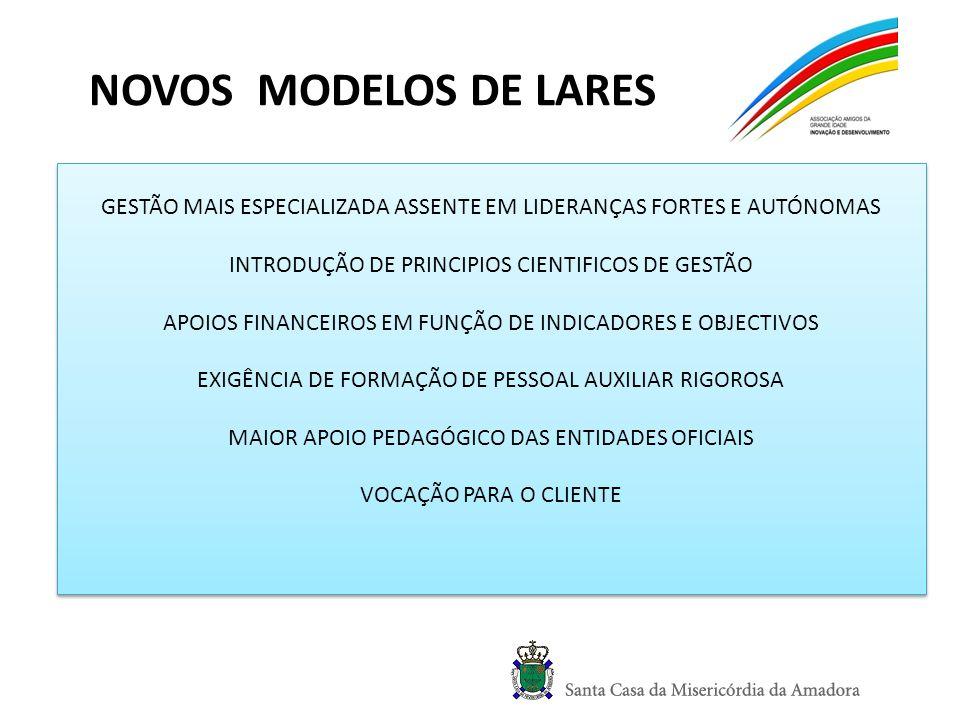 NOVOS MODELOS DE LARES GESTÃO MAIS ESPECIALIZADA ASSENTE EM LIDERANÇAS FORTES E AUTÓNOMAS INTRODUÇÃO DE PRINCIPIOS CIENTIFICOS DE GESTÃO APOIOS FINANC