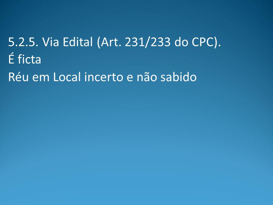 5.2.5. Via Edital (Art. 231/233 do CPC). É ficta Réu em Local incerto e não sabido