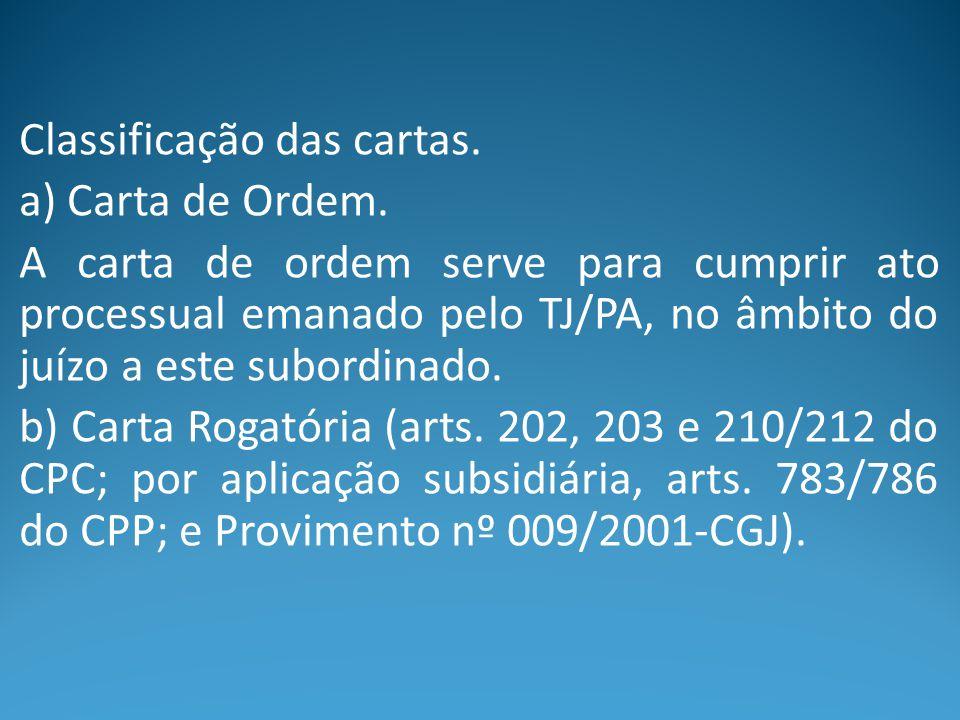 Classificação das cartas. a) Carta de Ordem. A carta de ordem serve para cumprir ato processual emanado pelo TJ/PA, no âmbito do juízo a este subordin