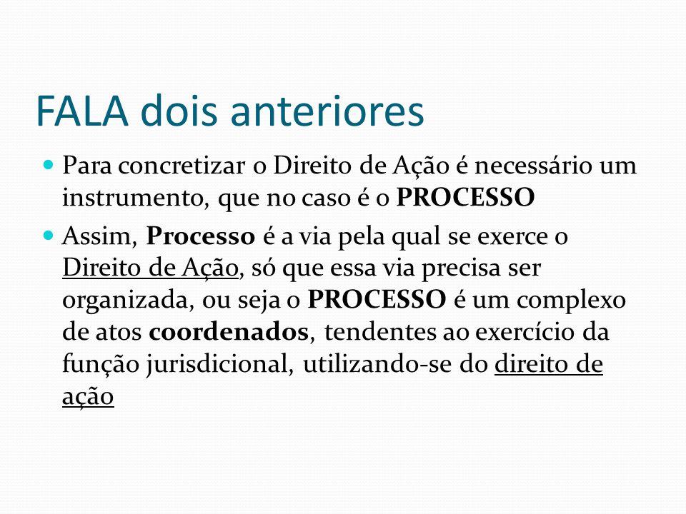 FALA dois anteriores Para concretizar o Direito de Ação é necessário um instrumento, que no caso é o PROCESSO Assim, Processo é a via pela qual se exe