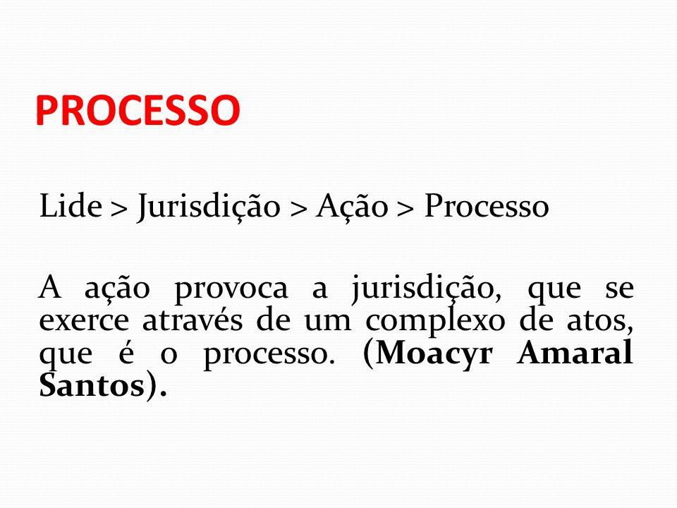 PROCESSO Lide > Jurisdição > Ação > Processo A ação provoca a jurisdição, que se exerce através de um complexo de atos, que é o processo. (Moacyr Amar