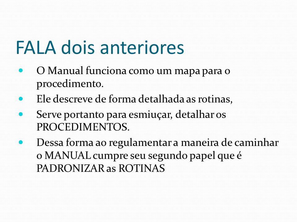FALA dois anteriores O Manual funciona como um mapa para o procedimento. Ele descreve de forma detalhada as rotinas, Serve portanto para esmiuçar, det