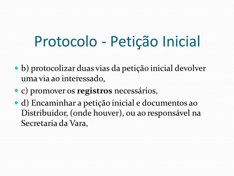 Protocolo - Petição Inicial b) protocolizar duas vias da petição inicial devolver uma via ao interessado, c) promover os registros necessários, d) Enc