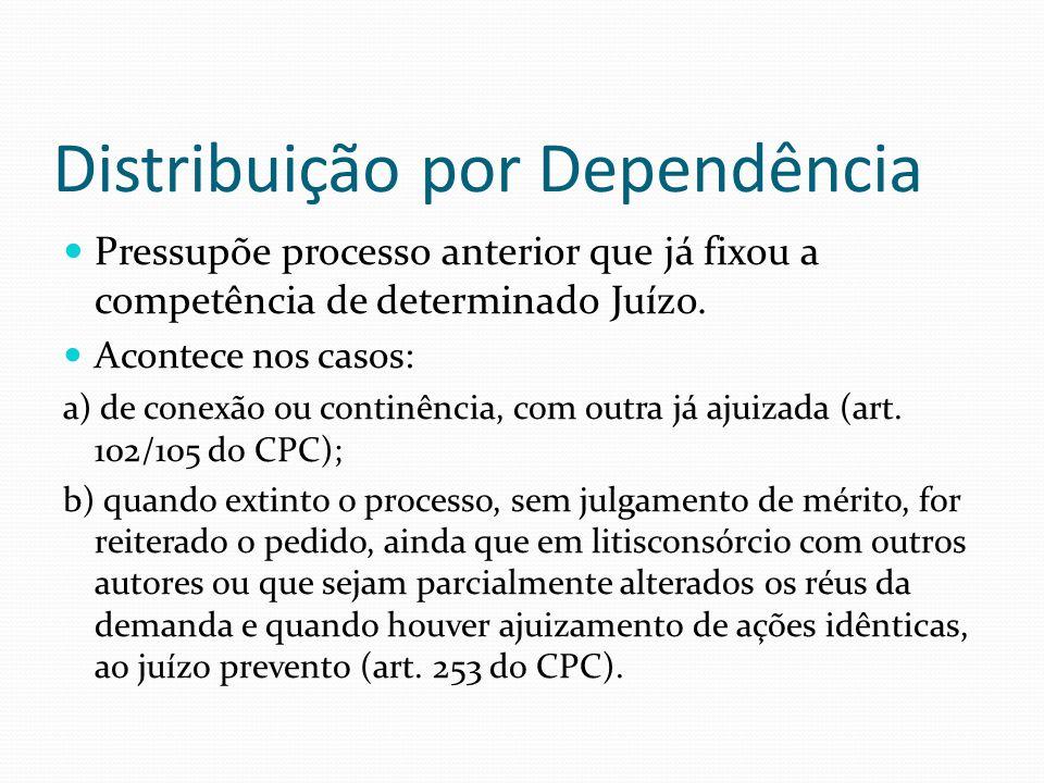 Distribuição por Dependência Pressupõe processo anterior que já fixou a competência de determinado Juízo. Acontece nos casos: a) de conexão ou continê