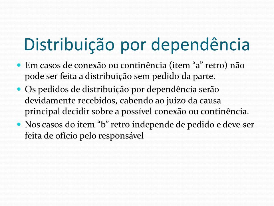 Distribuição por dependência Em casos de conexão ou continência (item a retro) não pode ser feita a distribuição sem pedido da parte. Os pedidos de di