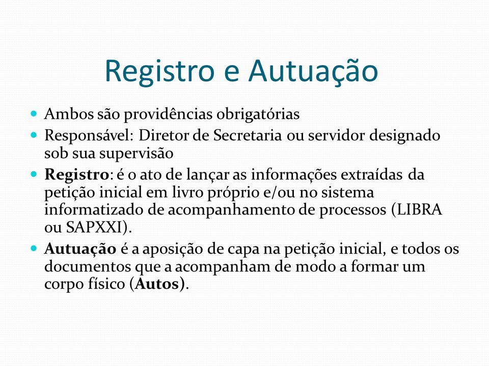 Registro e Autuação Ambos são providências obrigatórias Responsável: Diretor de Secretaria ou servidor designado sob sua supervisão Registro: é o ato