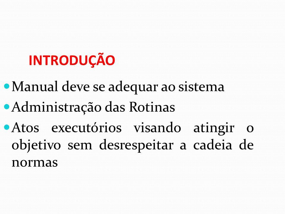 INTRODUÇÃO Manual deve se adequar ao sistema Administração das Rotinas Atos executórios visando atingir o objetivo sem desrespeitar a cadeia de normas