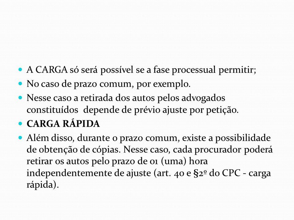 A CARGA só será possível se a fase processual permitir; No caso de prazo comum, por exemplo. Nesse caso a retirada dos autos pelos advogados constituí