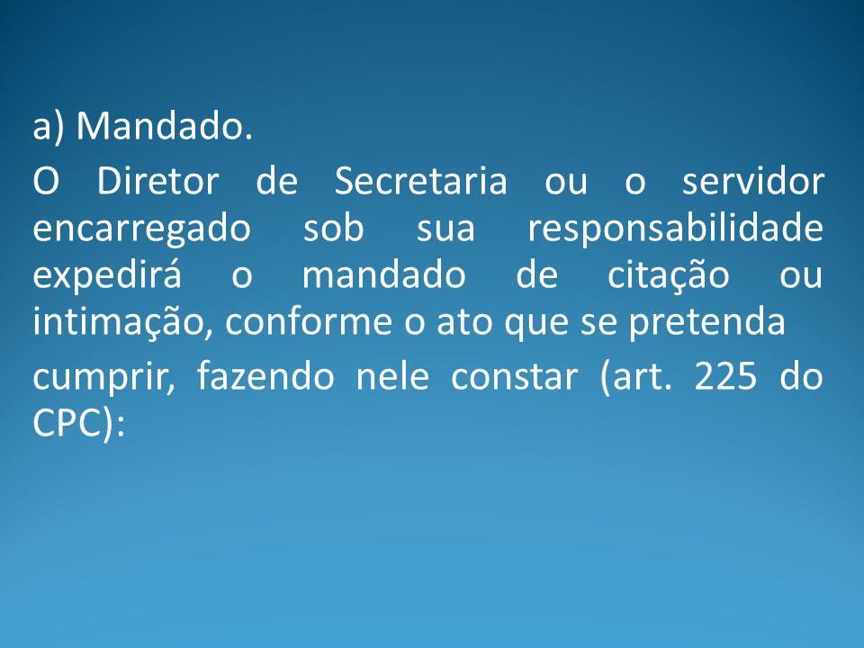 a) Mandado. O Diretor de Secretaria ou o servidor encarregado sob sua responsabilidade expedirá o mandado de citação ou intimação, conforme o ato que