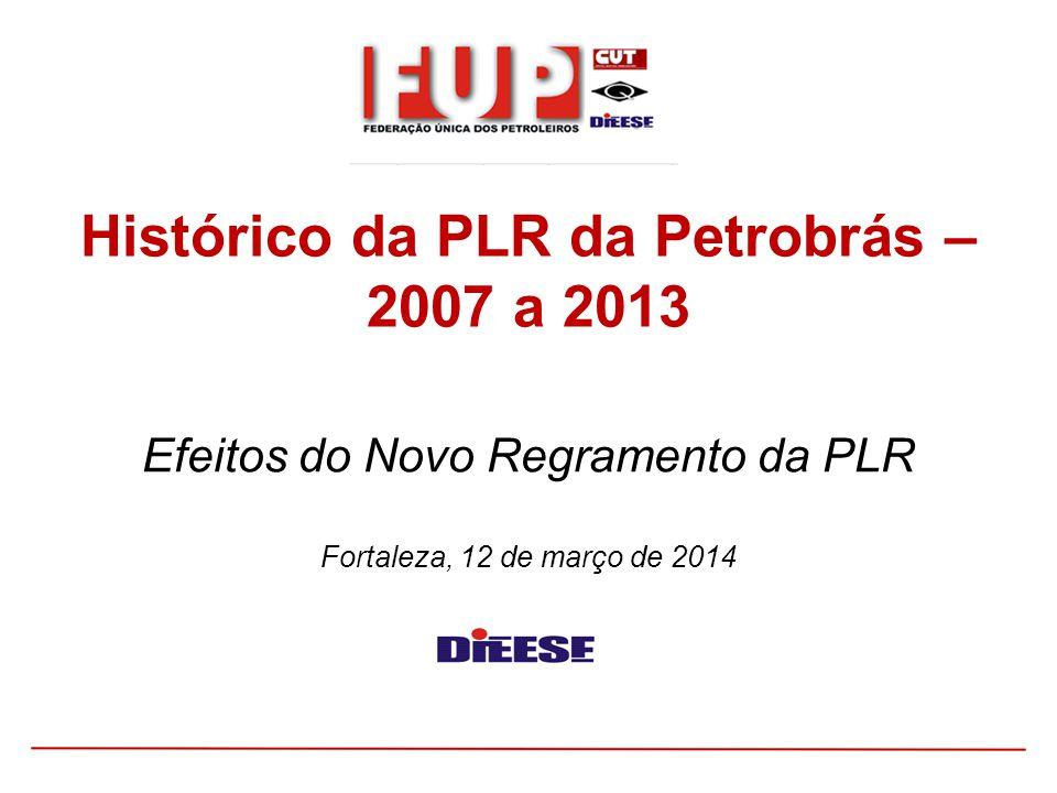 Efeitos do Novo Regramento da PLR Fortaleza, 12 de março de 2014 Histórico da PLR da Petrobrás – 2007 a 2013