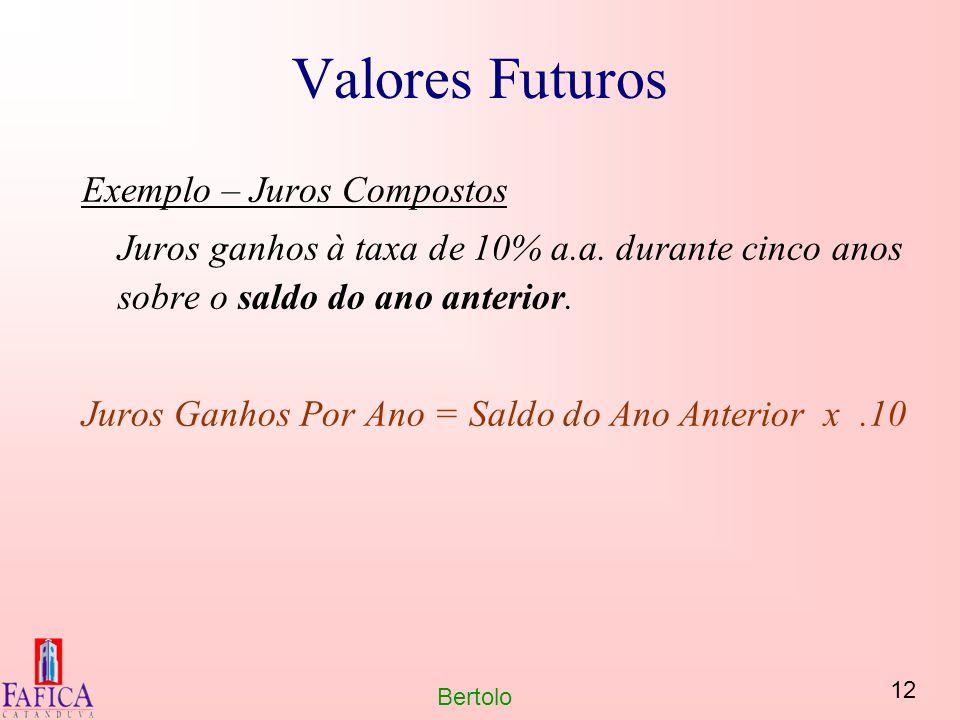 12 Bertolo Valores Futuros Exemplo – Juros Compostos Juros ganhos à taxa de 10% a.a. durante cinco anos sobre o saldo do ano anterior. Juros Ganhos Po