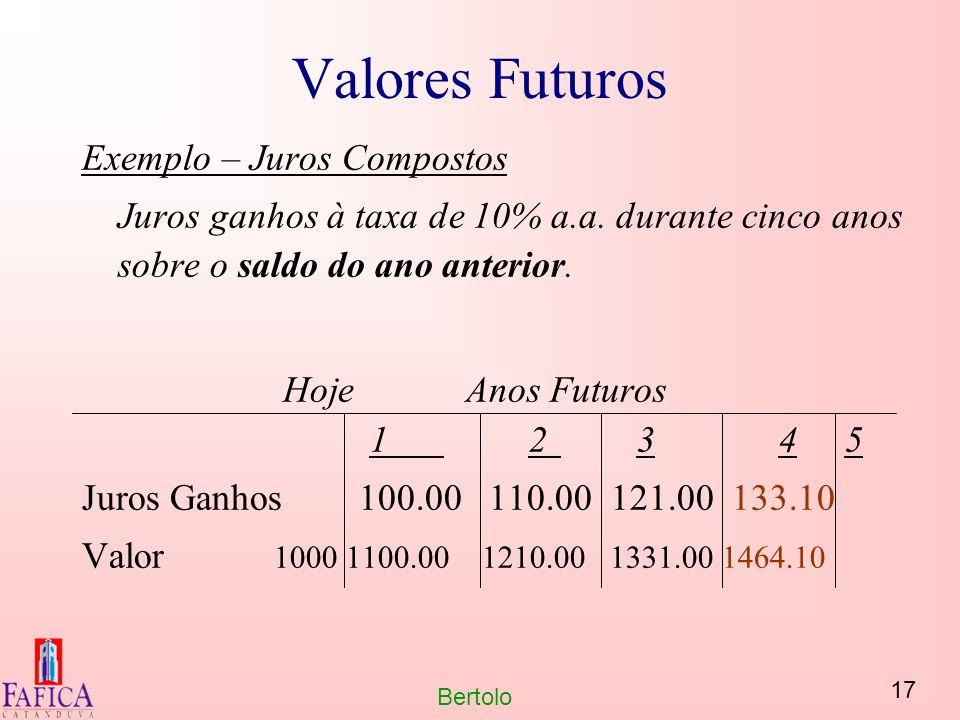17 Bertolo Valores Futuros Exemplo – Juros Compostos Juros ganhos à taxa de 10% a.a. durante cinco anos sobre o saldo do ano anterior. HojeAnos Futuro