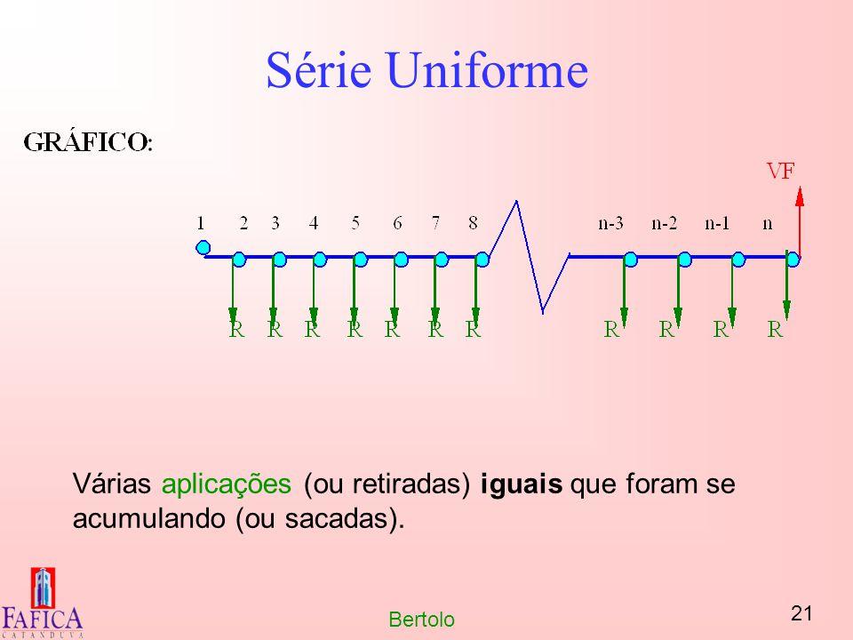 21 Bertolo Série Uniforme Várias aplicações (ou retiradas) iguais que foram se acumulando (ou sacadas).