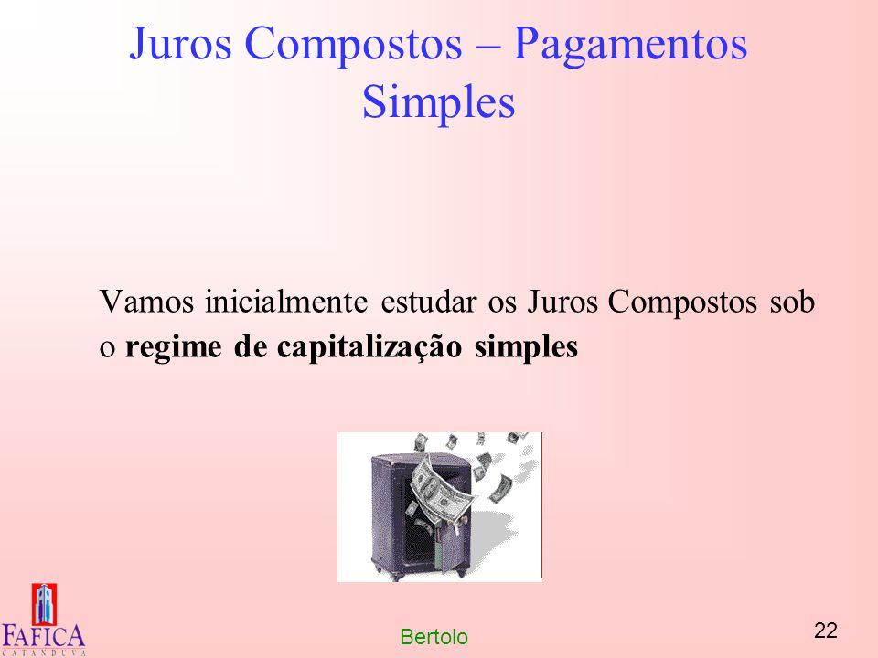 22 Bertolo Juros Compostos – Pagamentos Simples Vamos inicialmente estudar os Juros Compostos sob o regime de capitalização simples